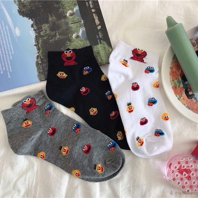 d❃♪Cute Anime Sesame Street Cartoon Print Sports Socks