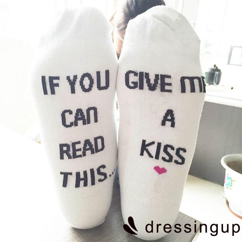 PRD-Fashion Socks If You Can Read This Men Women Blue White Ankle High Socks