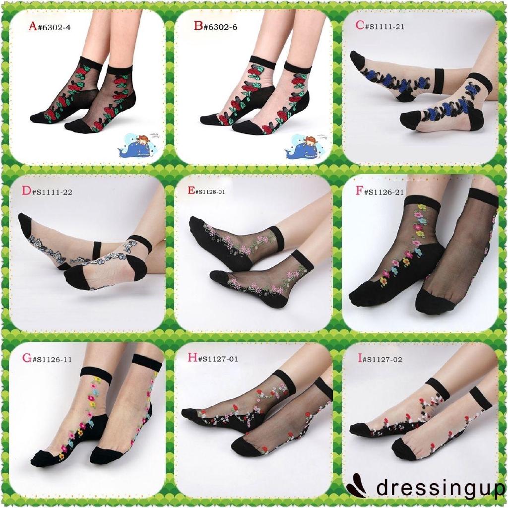 RSG-Beautiful Hot Women Cusual Elastic Short Socks Transparent thin Crystal