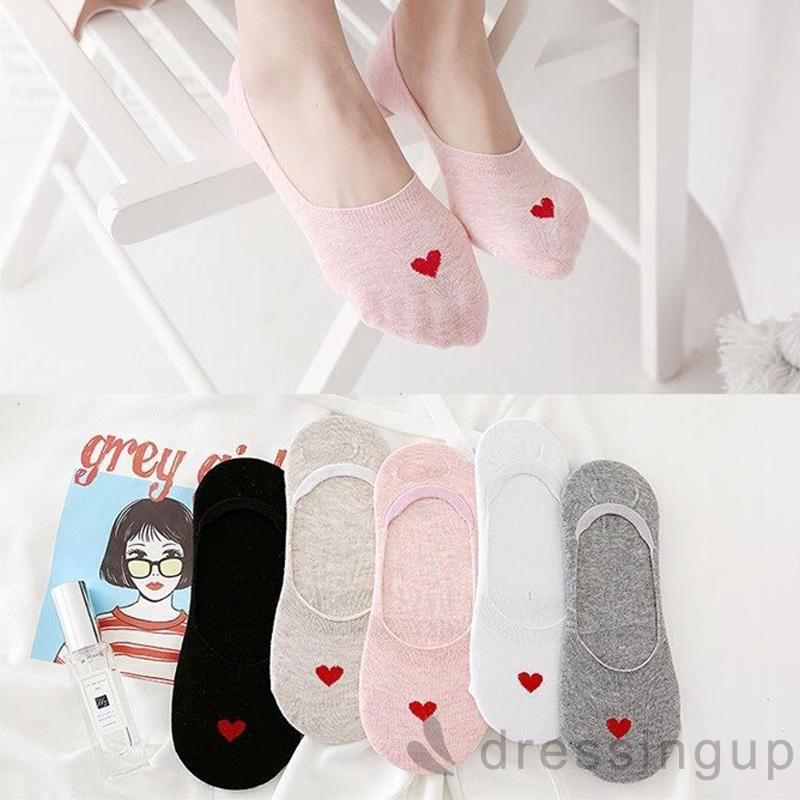 Women's Heart Printed Shallow Mouth Socks, Assorted Colors