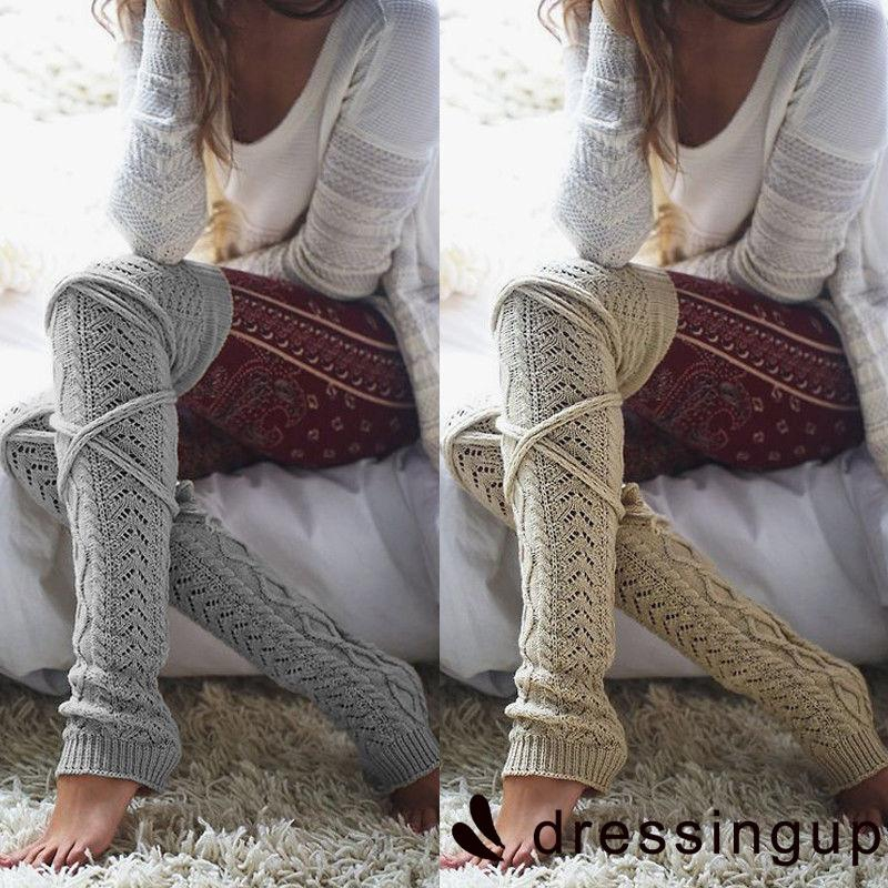 RIG-Women Crochet Knitted stocking Leg Warmers Boot Cover Lace Trim Legging