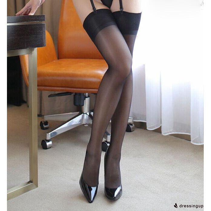 GES-Women Ladies Ultrathin Sheer Lace Top Thigh High Silk Thin Stockings Hold