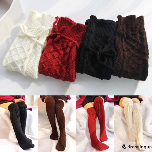 Women's Soft Winter Wear Knitted Socks, Over knee - EEG