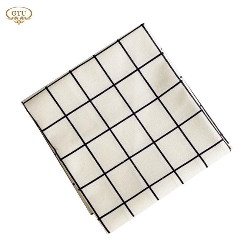 GTU Embroidery Tablecloth Plaid Table Cloth Cover Dustproof Dinning Roomation