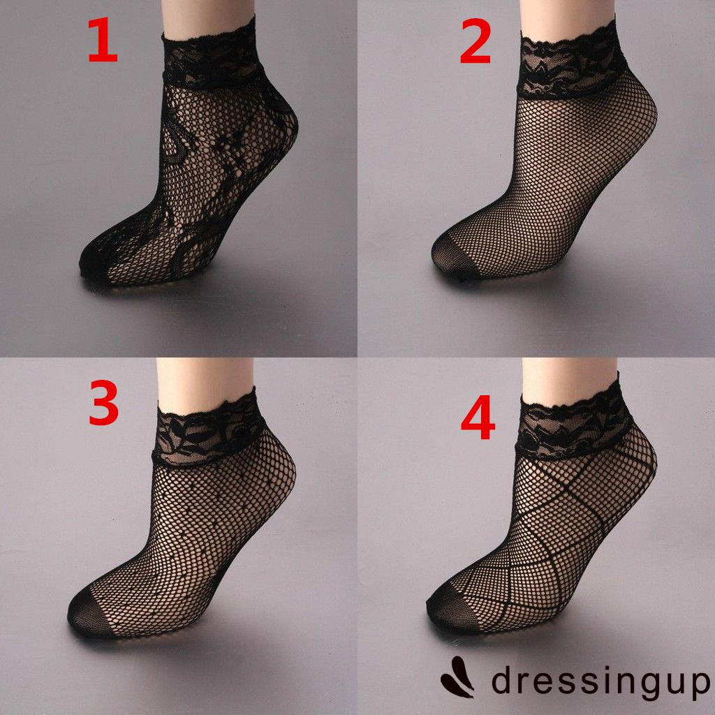 PPI-Fashion Womens Girl Fishnet Ankle High Lace Boot Socks Stockings Mesh New