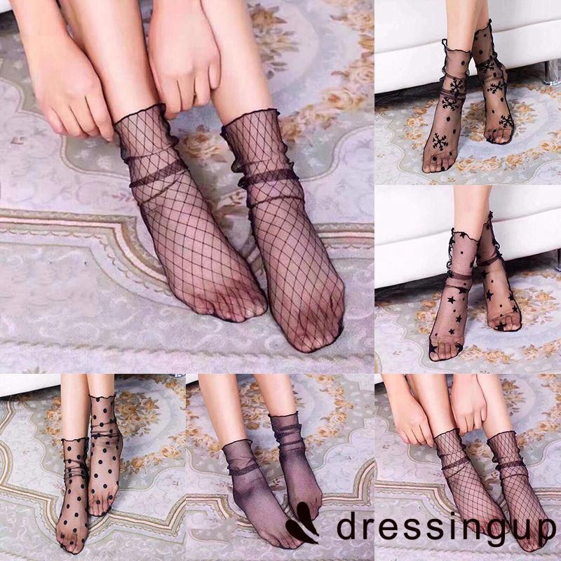 U.E-2018 new Womens Ruffle Fishnet Ankle High Socks Lady Mesh Lace Fish Net