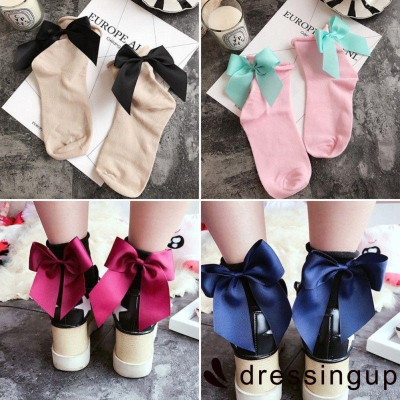 .PS-Women Bow Knot Soft Breathable Ankle-High Patchwork Casual Cotton Socks
