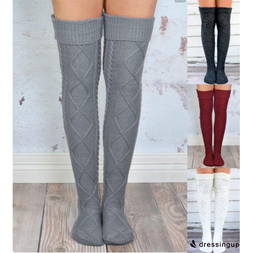 N.S-Stock Womens Warm Knit Thigh High Long Stockings Knit Over Knee Girls Socks