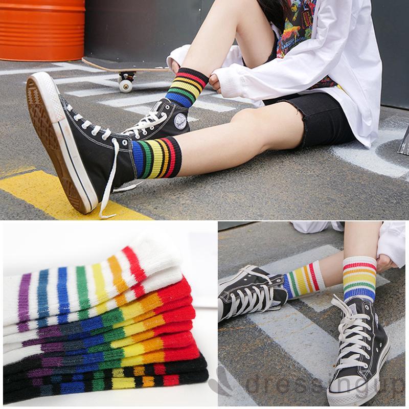 d❃♪Autumn Women Muticolor Fashion Rainbow Color Socks