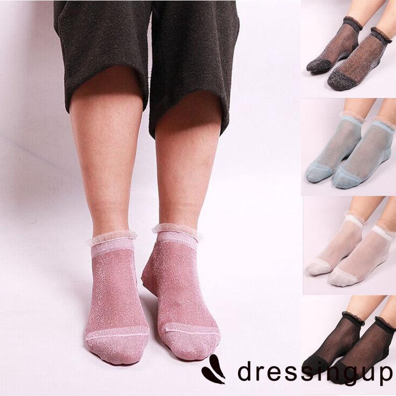 R.E-Fashion Women Lady Glitter Mesh Ankle Socks Soft Elasticity Gauze Fishnet
