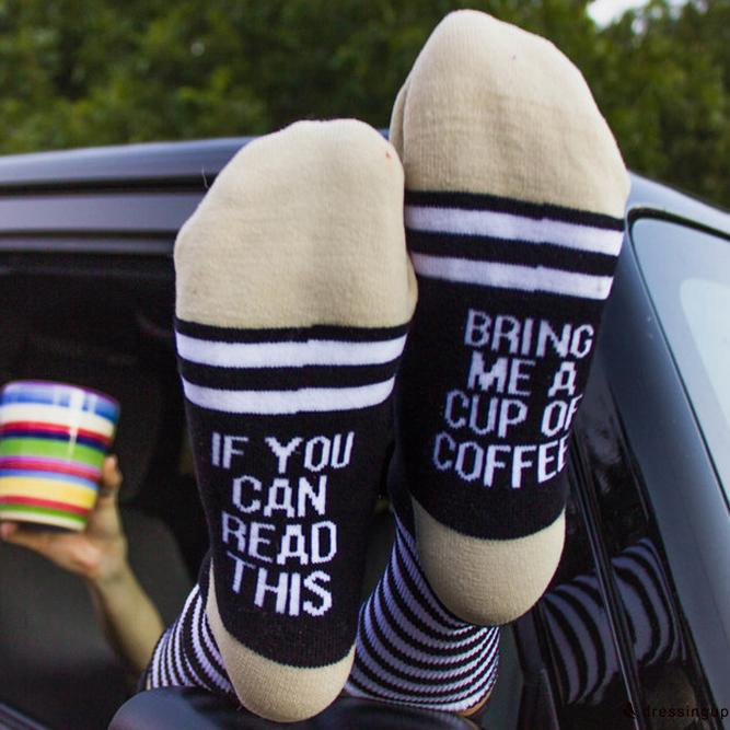 SDG-Fashion Unisex Wine Socks If You can read this Bring Me a Cup of Coffee