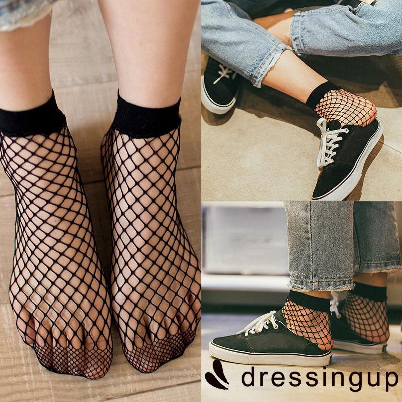 R.E-Fashion Women Ruffle Fishnet Ankle High Socks Mesh Lace Fish Net Short