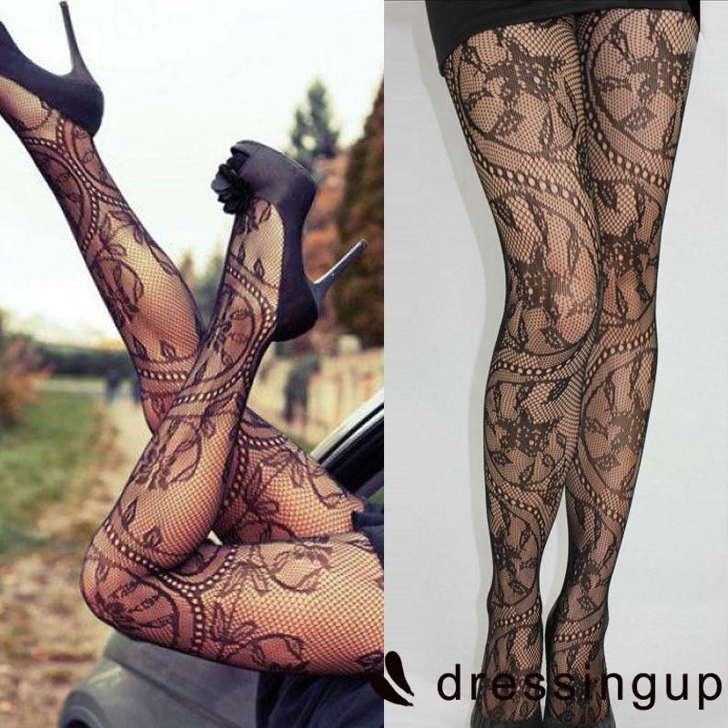 UGG-Fashion Women Ladies Floral Pattern Floral Print Lace Rose Fishnet