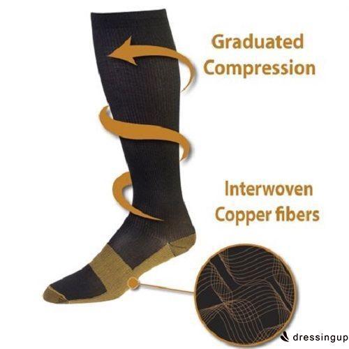 EUR-Men´s Women´s 20-30mmHg  Copper Infused Compression Socks Graduated S-XXL