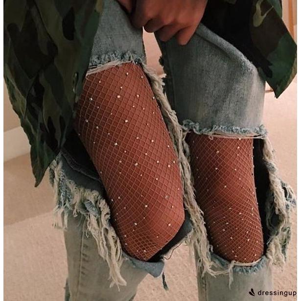 SEU-Women Net Fishnet Thigh-High Long Socks Stockings Pantyhose Tights Body
